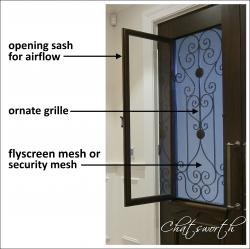 The Chatsworth has an opening sash for airflow, ornate cast metal grill for security and a flyscreen mesh or security mesh for peace of mind.