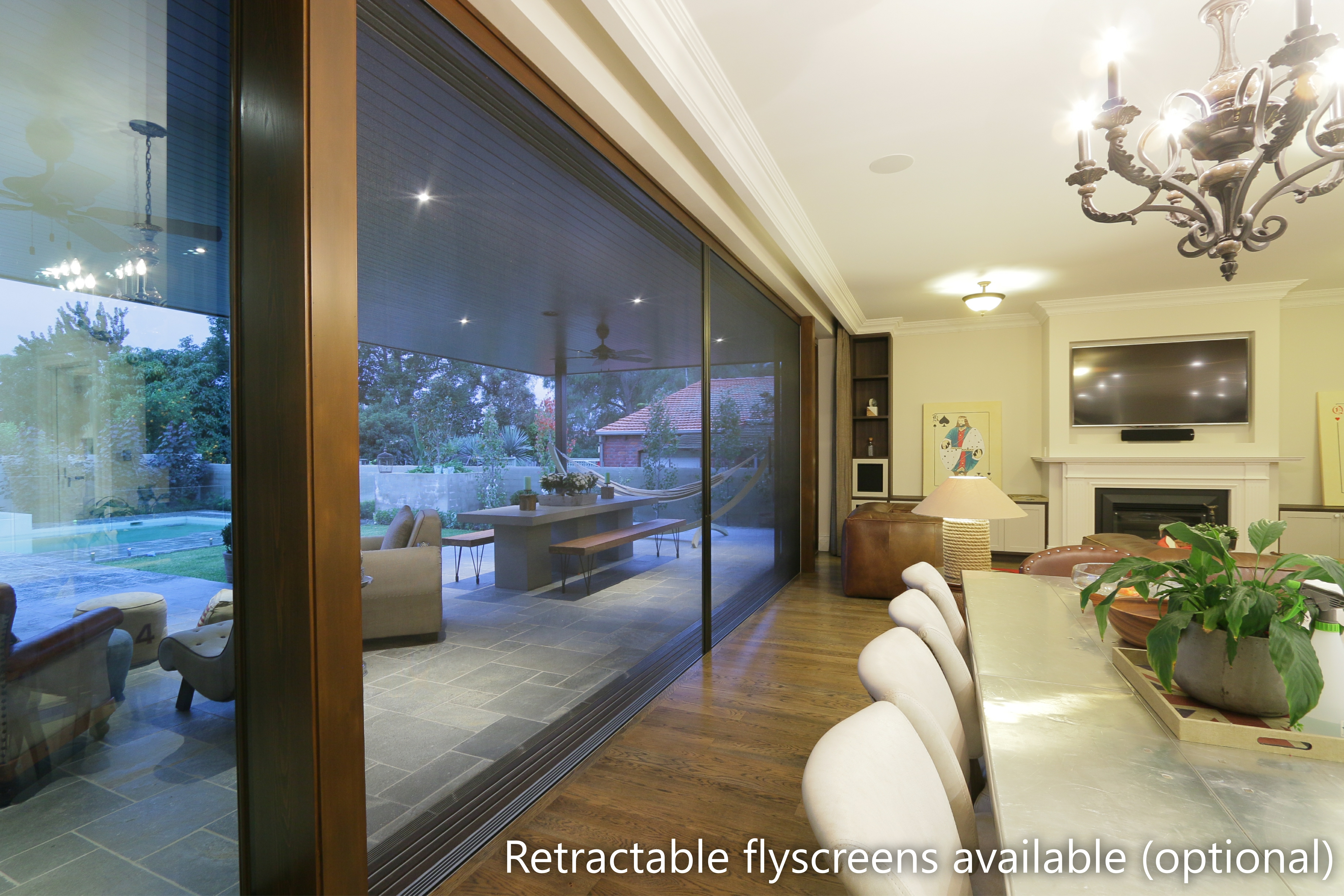 Retractable Flyscreen used with Cedar West Sliding Doors