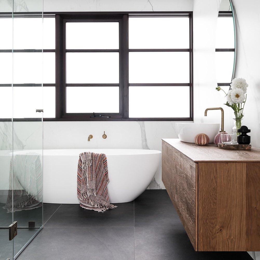 Awning window with sleek timber profile